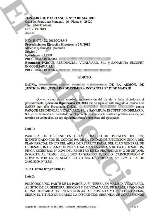 Documento que recoge la ejecución hipotecaria instada por Sareb.