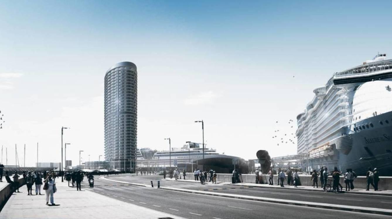 Vista del proyecto del hotel rascacielos del puerto de Málaga.