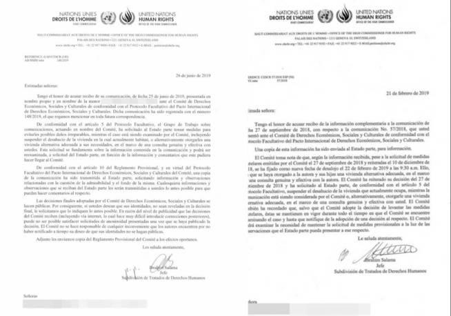 Dos ejemplos de petición de 'medidas cautelares' del Comité DESC.
