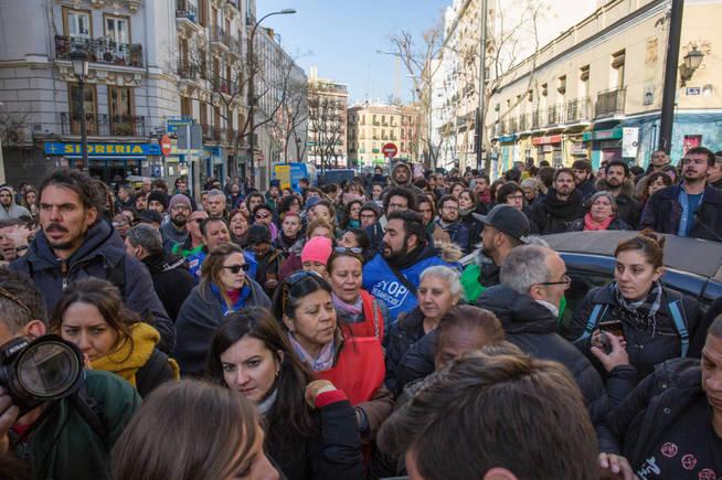 Protesta social por el desahucio de Argumosa 11, que contaba con apoyo del Comité DESC. (D.B.)