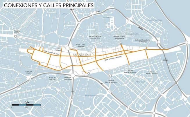 Conexiones y calles principales. (Foto: MNN). (Pinche sobre la imagen para ampliar)