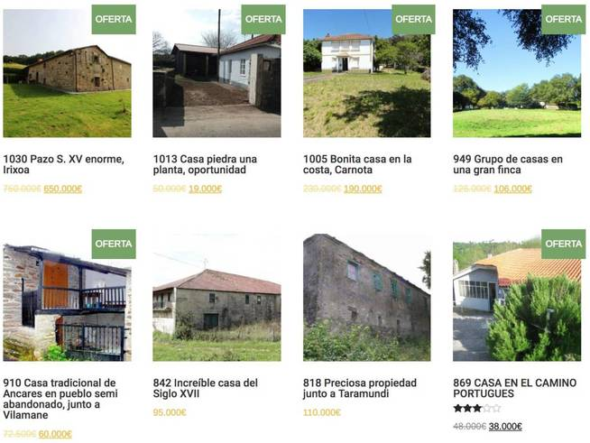 Inmuebles en venta en la página de Galician Country Homes.