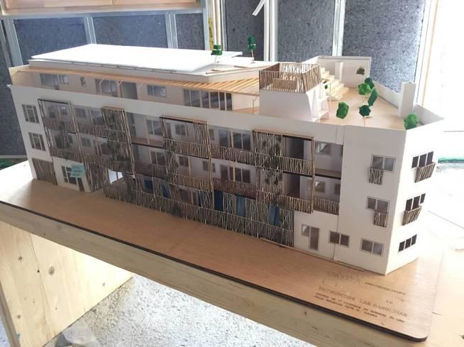 Maqueta del edificio Entrepatios. (A. V.)
