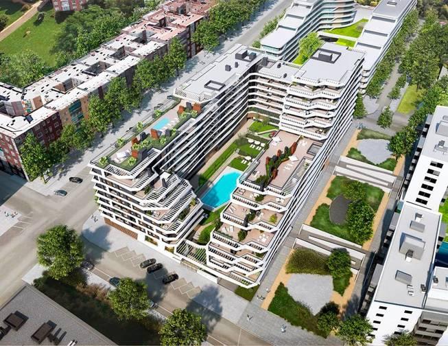 El residencial Stellae sigue un modelo aterrazado, que permite que las 224 viviendas dispongan de grandes terrazas. (Grupo Ibosa)